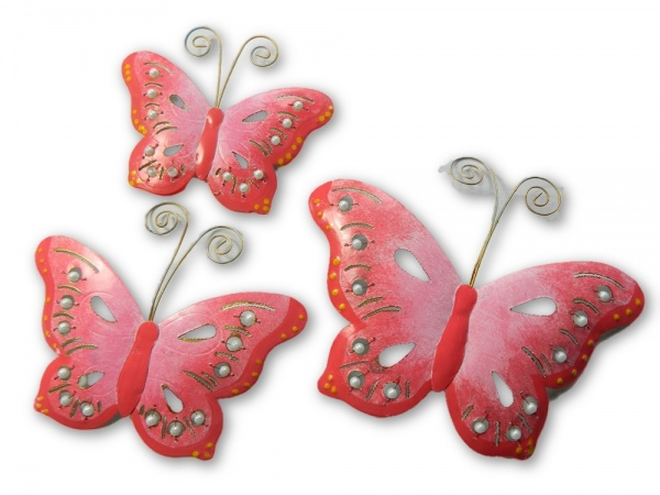 Metal Butterfly Wall Art - Pink - Set of 3
